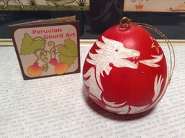 Hand Carved Peruvian Gourd Art Red with White Dragon Lucuma Designs Fair Trade