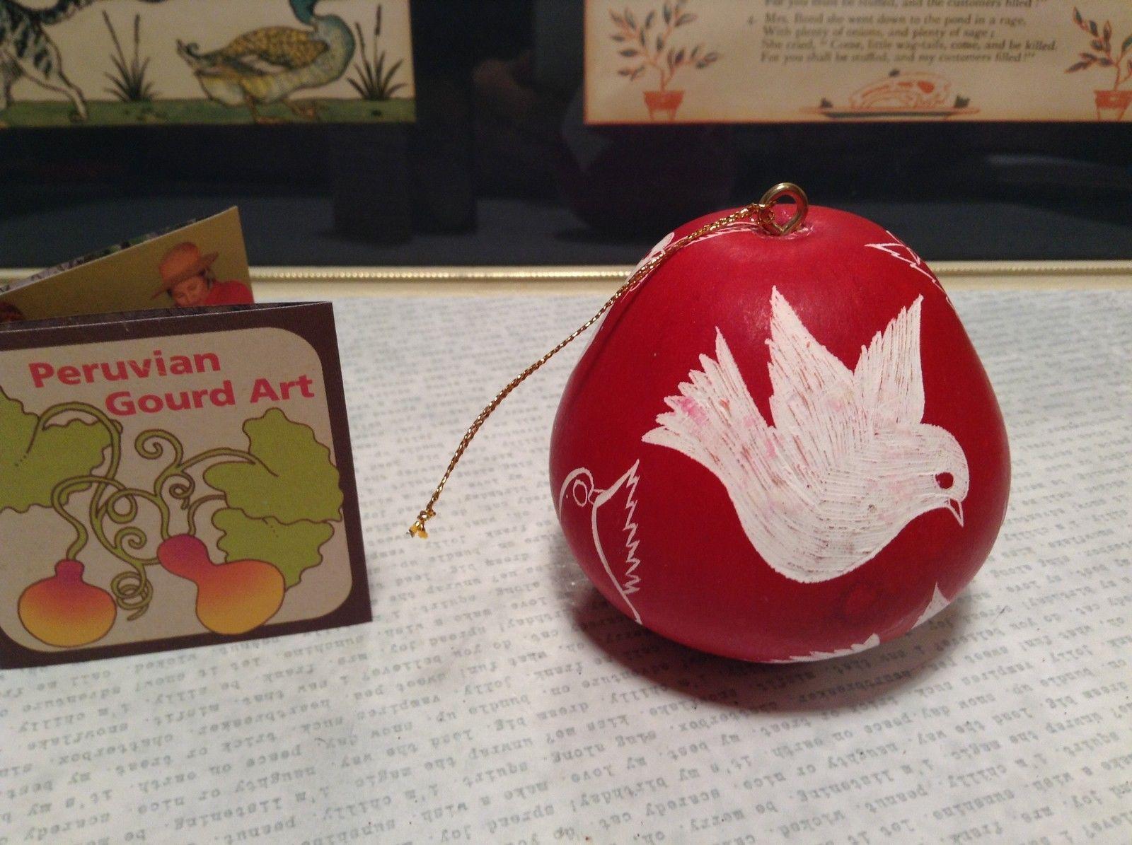 Hand Carved Peruvian Gourd Art Red with White Birds Lucuma Designs Made in Peru