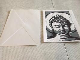 Gray and White Buddha Original Wood Block Handmade Greeting Card with Envelope image 2
