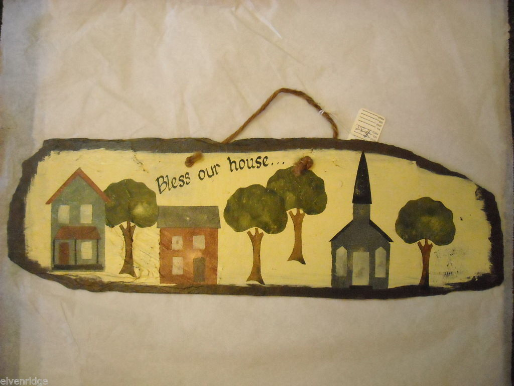 "Hand painted Slate that reads ""Bless our House"""