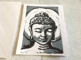 Gray and White Buddha Original Wood Block Handmade Greeting Card with Envelope image 4