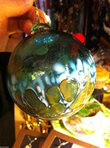 Hand blown large heirloom glass Christmas ornament in aqua white and green - $74.24