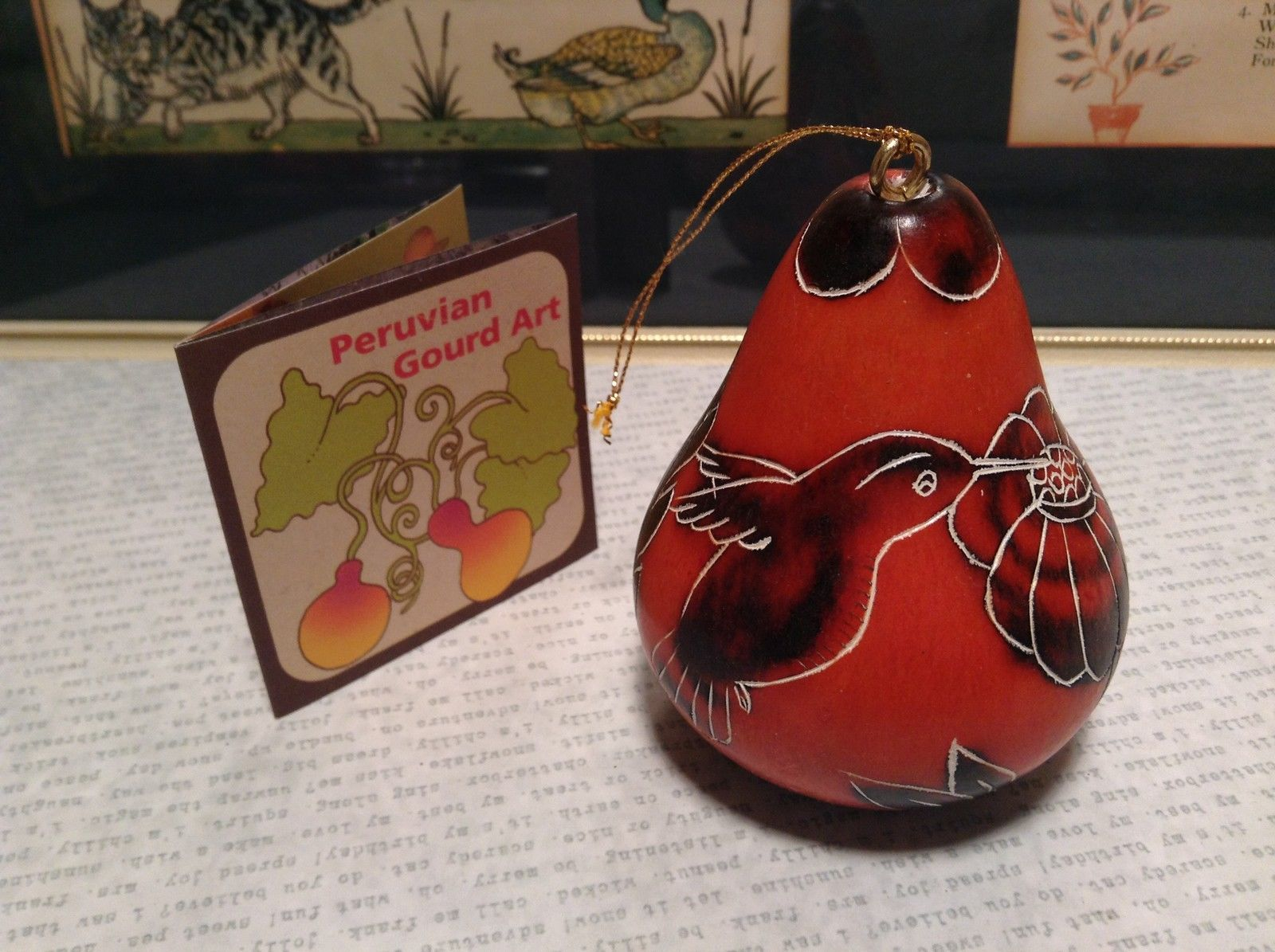 Hand Carved Art Ornament Peruvian Gourd Orange with Birds and Flowers Fair Trade