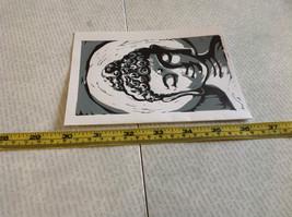 Gray and White Buddha Original Wood Block Handmade Greeting Card with Envelope image 5