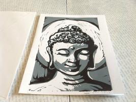 Gray and White Buddha Original Wood Block Handmade Greeting Card with Envelope image 3