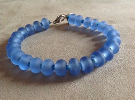 Handmade Lampwork Lobster Claw Blue Glass Sea Glass Frosted Rondelle Bracelet