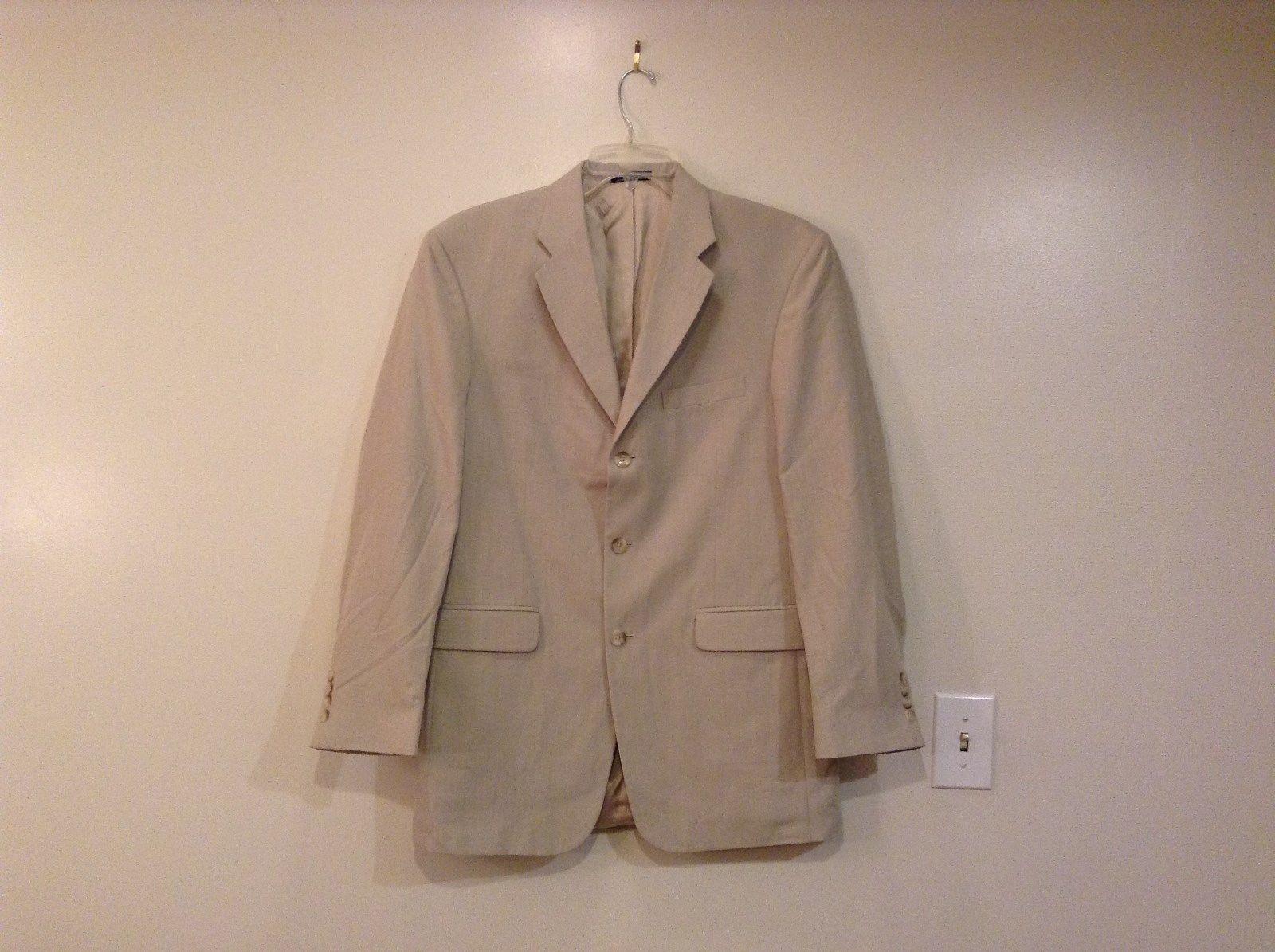 J Ferrar Natural Linen Very Light Gray Lined Suit Jacket Blazer Size 40L