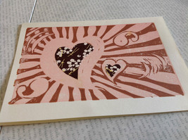 Hearts on Pink Background Original Wood Block Handmade Greeting Card Envelope