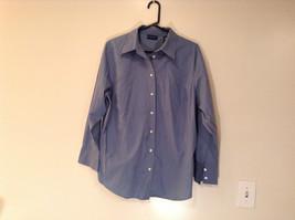 Karen Scott Size 1X Long Sleeve Dusty Blue Button Up Front Collared Shirt