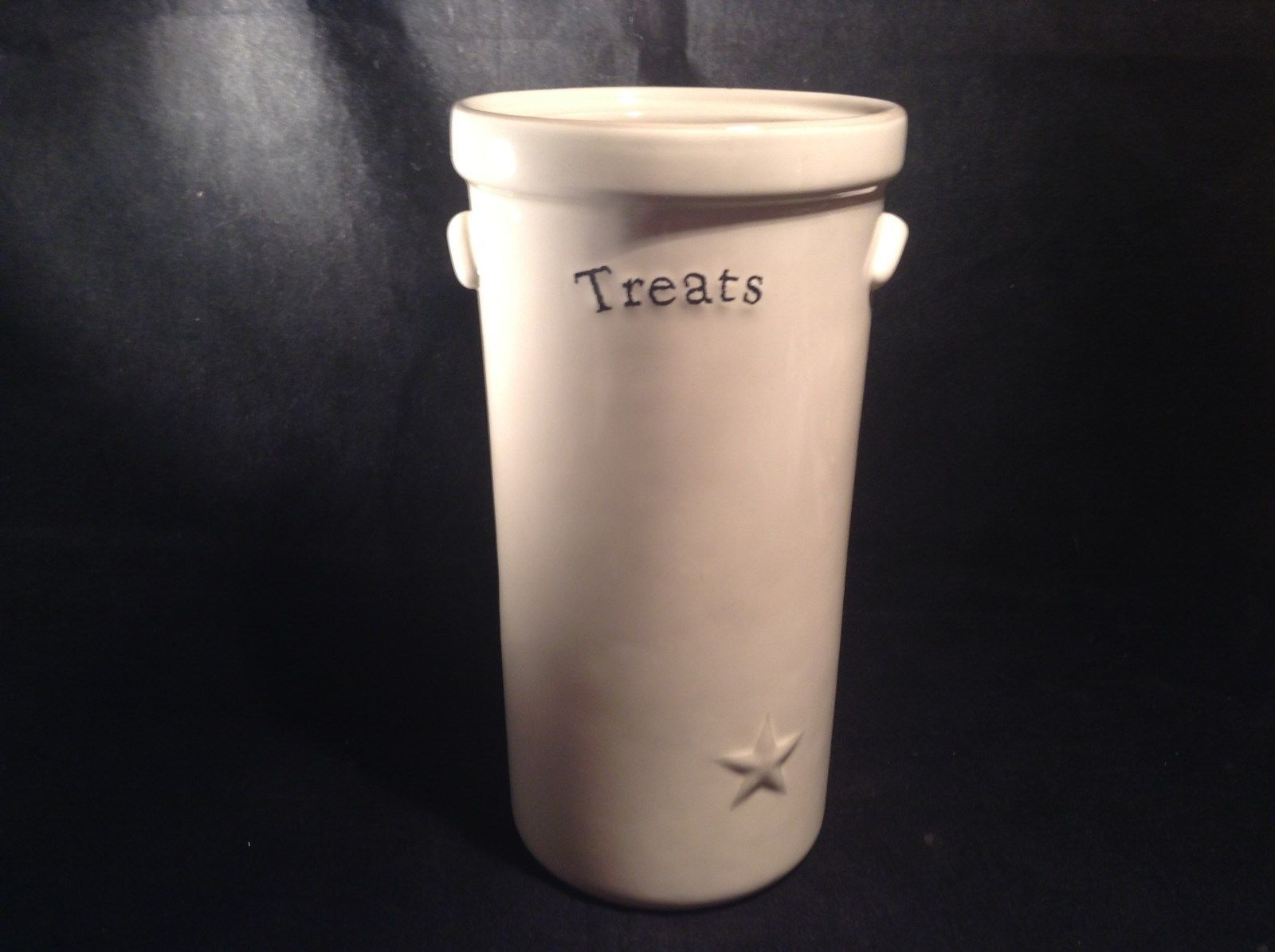 Large White Ceramic Jar with Star Decoration Treats on Front in Black 10 Inches