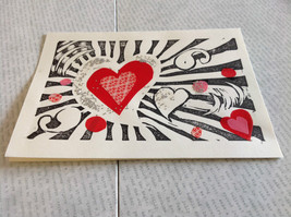 Hearts and Glitter Original Wood Block Handmade Greeting Card with Envelope