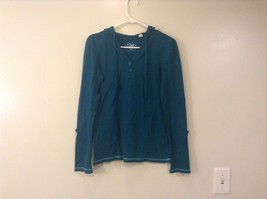 Lei Dark Turquoise Hooded Long Sleeve V Neck Shirt Size XL Adjustable Sleeves