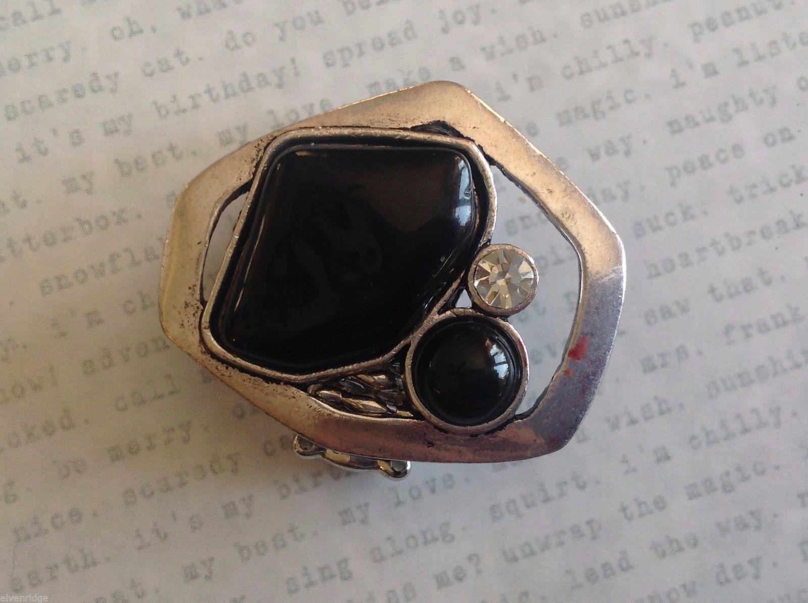 Large Onyx Silver tone funky asymmetrical geometric black stone crystal ring