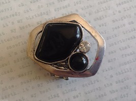 Large Onyx Silver tone funky asymmetrical geometric black stone crystal ring