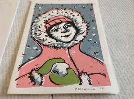 Kid with Snowball Pink Original Wood Block Handmade Greeting Card with Envelope