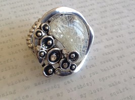 Funky statement nature inspired silver tone crystal lily pad flexible ring image 3