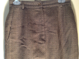 Green Brown Gold Skirt by Anne Klein II Size 10 Button and Zipper on Front image 2