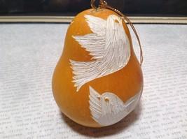Hand Carved Peruvian Gourd Art Yellow with White Bird Lucuma Designs Fair Trade image 4