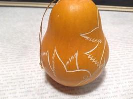 Hand Carved Peruvian Gourd Art Yellow with White Bird Lucuma Designs Fair Trade image 2
