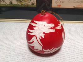 Hand Carved Peruvian Gourd Art Red with White Dragon Lucuma Designs Fair Trade image 2