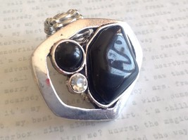 Large Onyx Silver tone funky asymmetrical geometric black stone crystal ring image 2