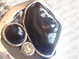 Large Onyx Silver tone funky asymmetrical geometric black stone crystal ring image 5