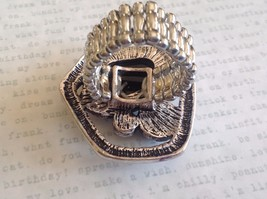 Large Onyx Silver tone funky asymmetrical geometric black stone crystal ring image 4