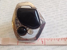 Large Onyx Silver tone funky asymmetrical geometric black stone crystal ring image 8