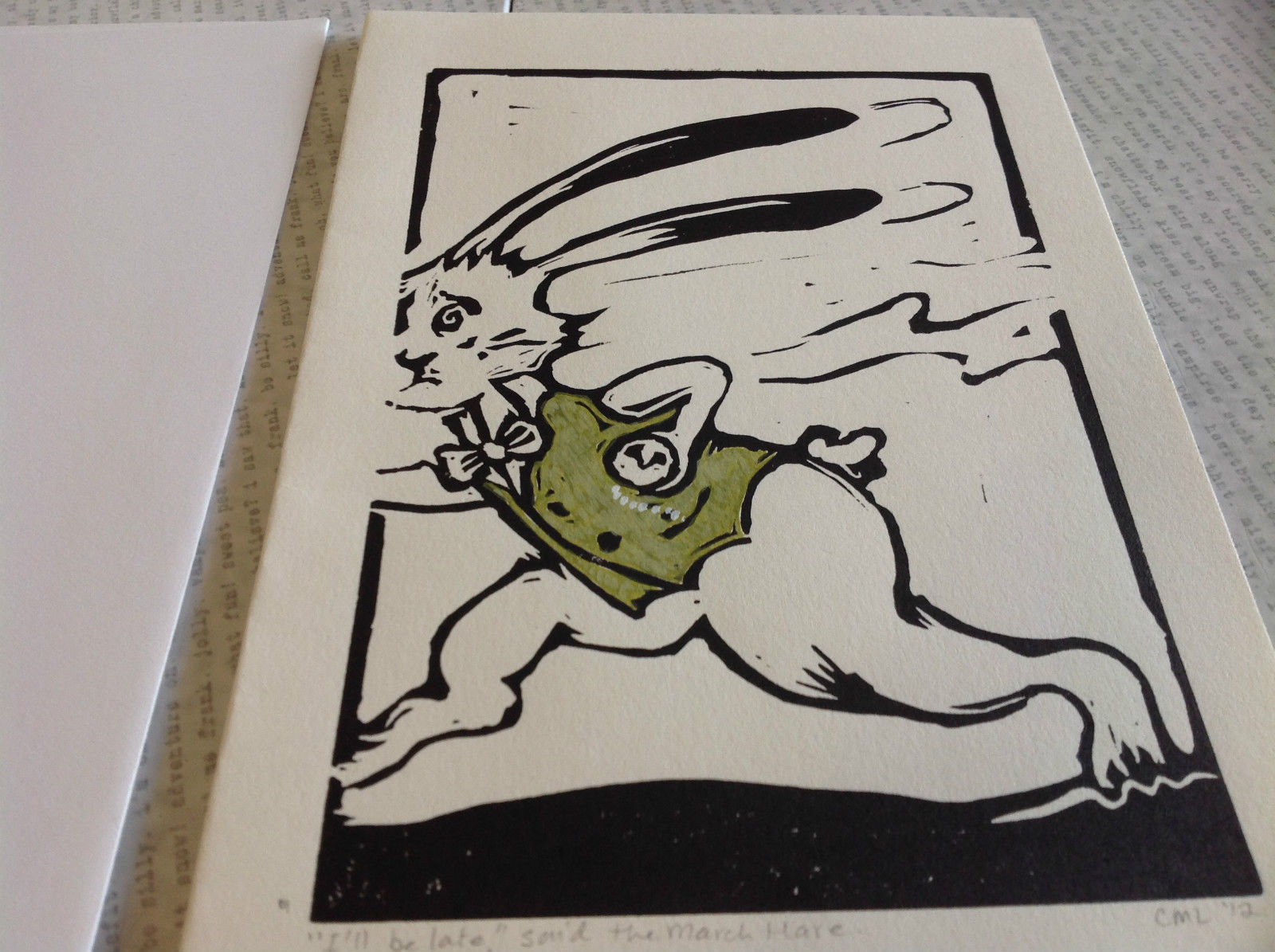 March Hare w Watch Original Wood Block Handmade Card w Envelope I'm Late