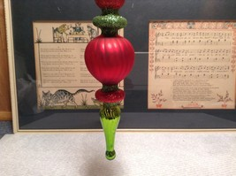Long Green Red Blown Glass Final Ornament with Sparkles