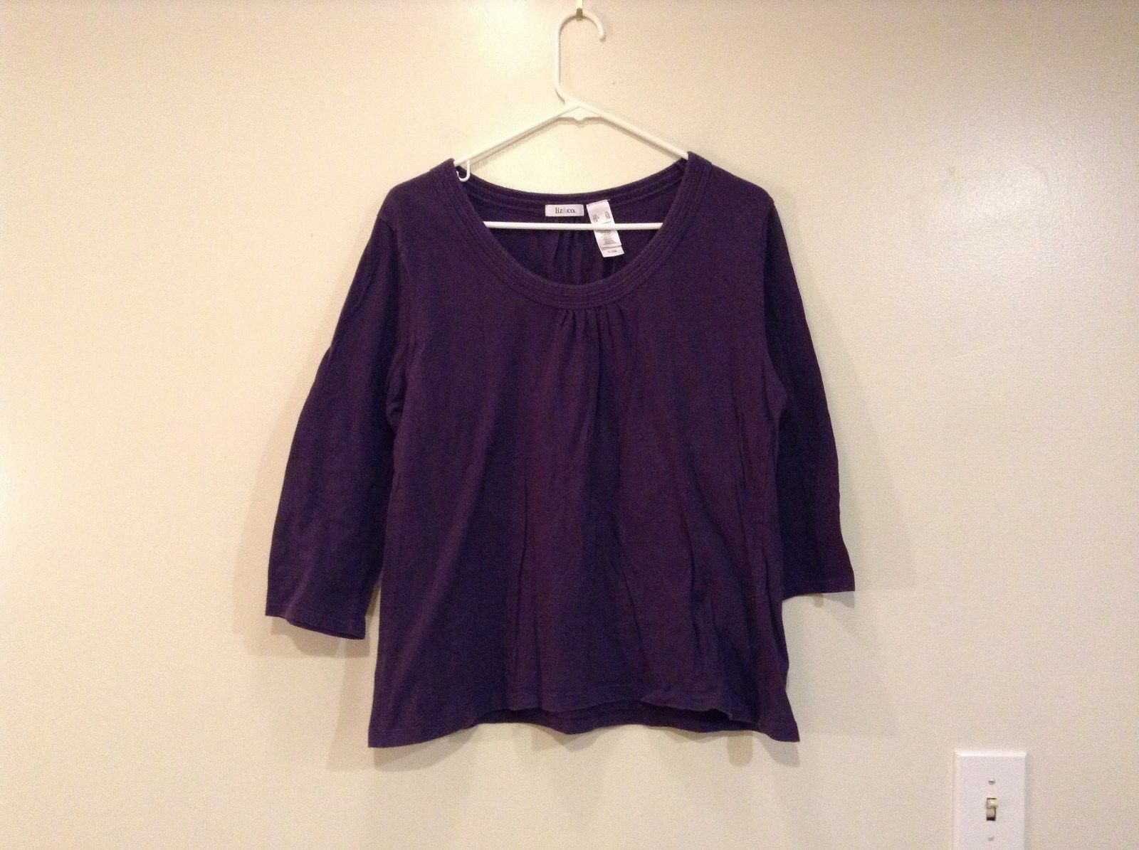 Liz and Company Dark Violet Boat Neck Cotton Shirt Size XL Decorative Stitches
