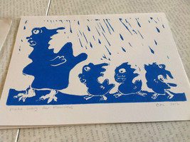 Make Way for Monsters Original Wood Block Handmade Greeting Card with Envelope