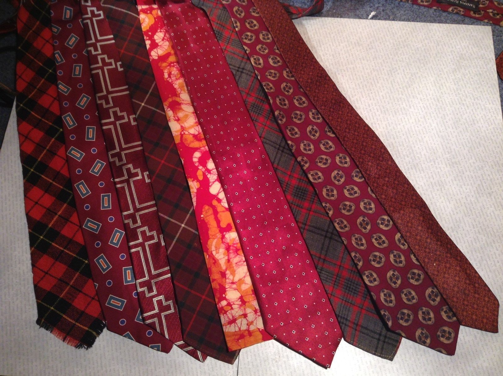 Lot of Nine Red Patterned Ties Varying Material and Styles