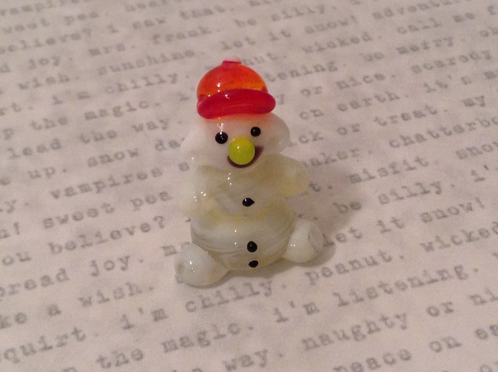 Micro Miniature handblown glass snowman w red hat smiling USA NIB