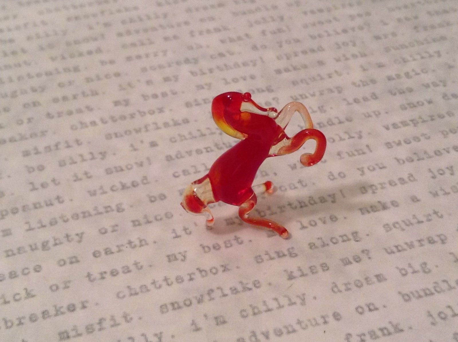 Micro miniature hand blown glass figurine Red Rearing Horse USA NIB
