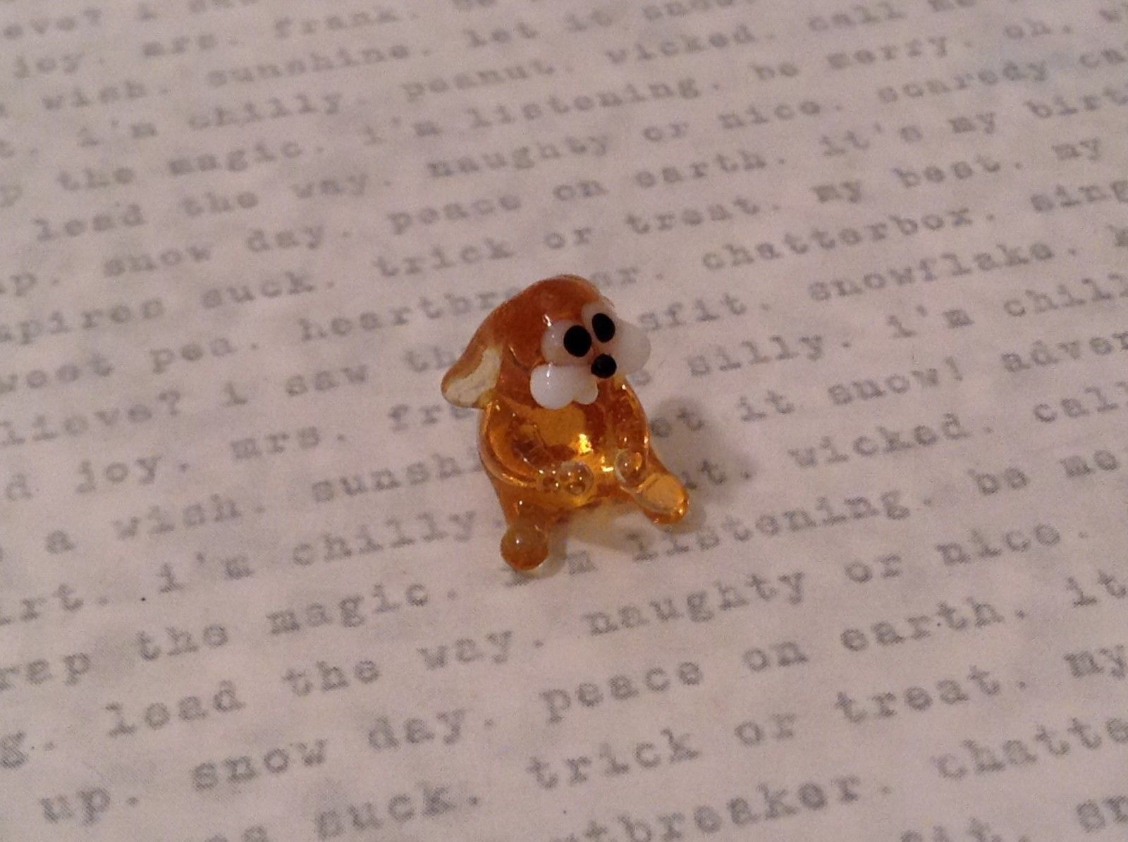 Micro miniature hand blown glass figurine amber bunny rabbit floppy ear USA NIB