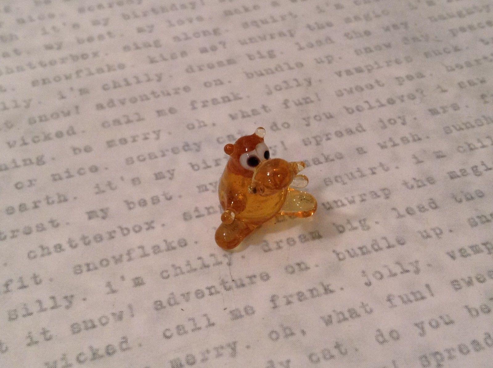 Micro miniature hand blown glass figurine amber hippo USA NIB