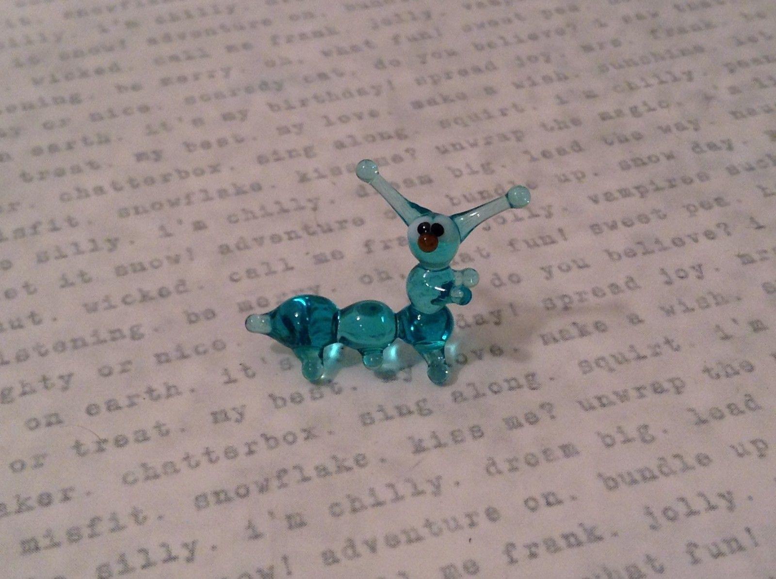 Micro miniature hand blown glass figurine blue caterpillar USA NIB