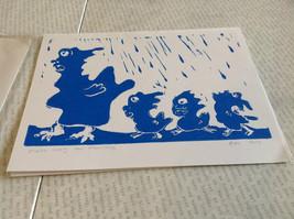 Make Way for Monsters Original Wood Block Handmade Greeting Card with Envelope image 3