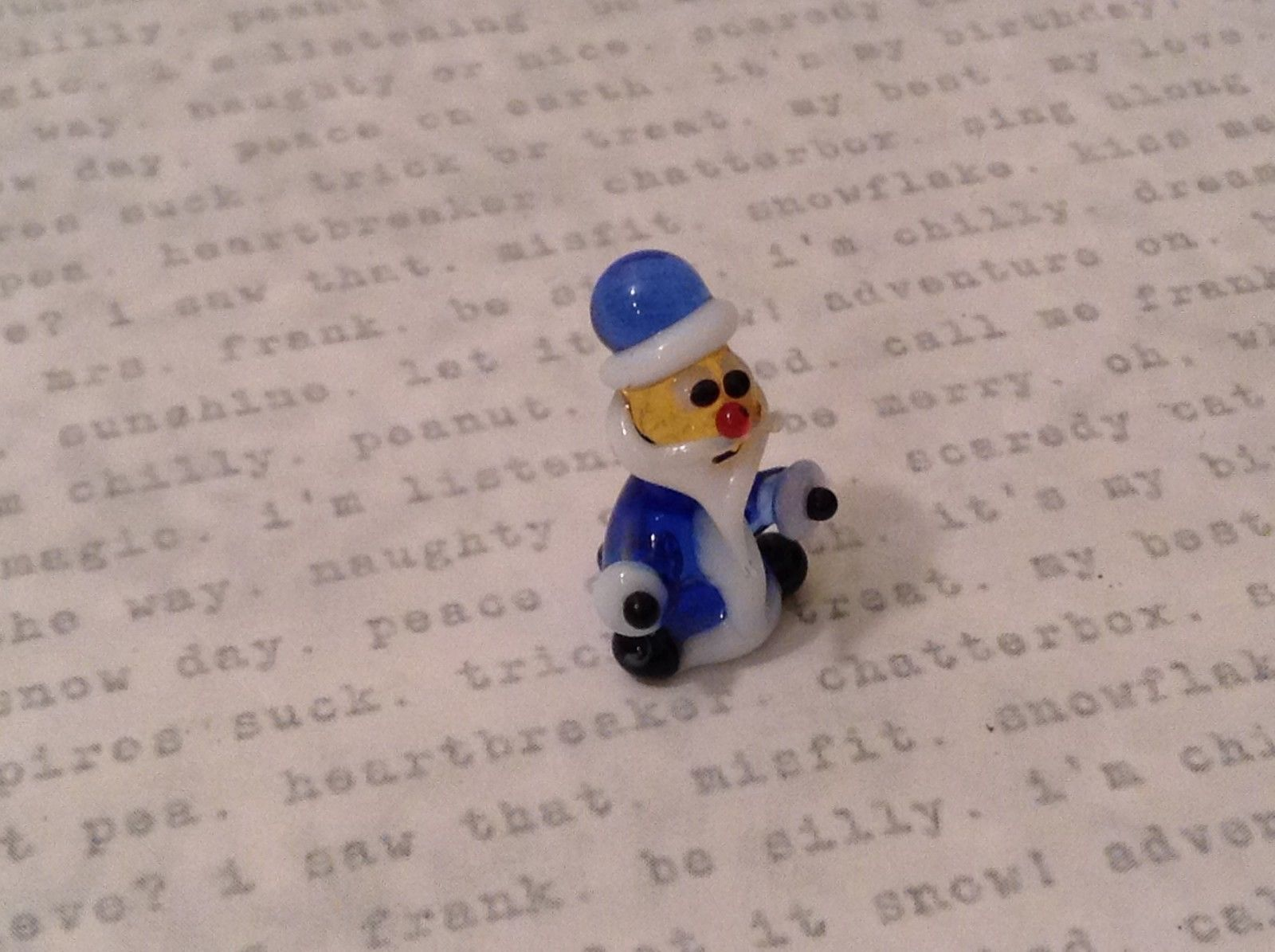 Micro miniature hand blown glass figurine blue santa elf USA NIB
