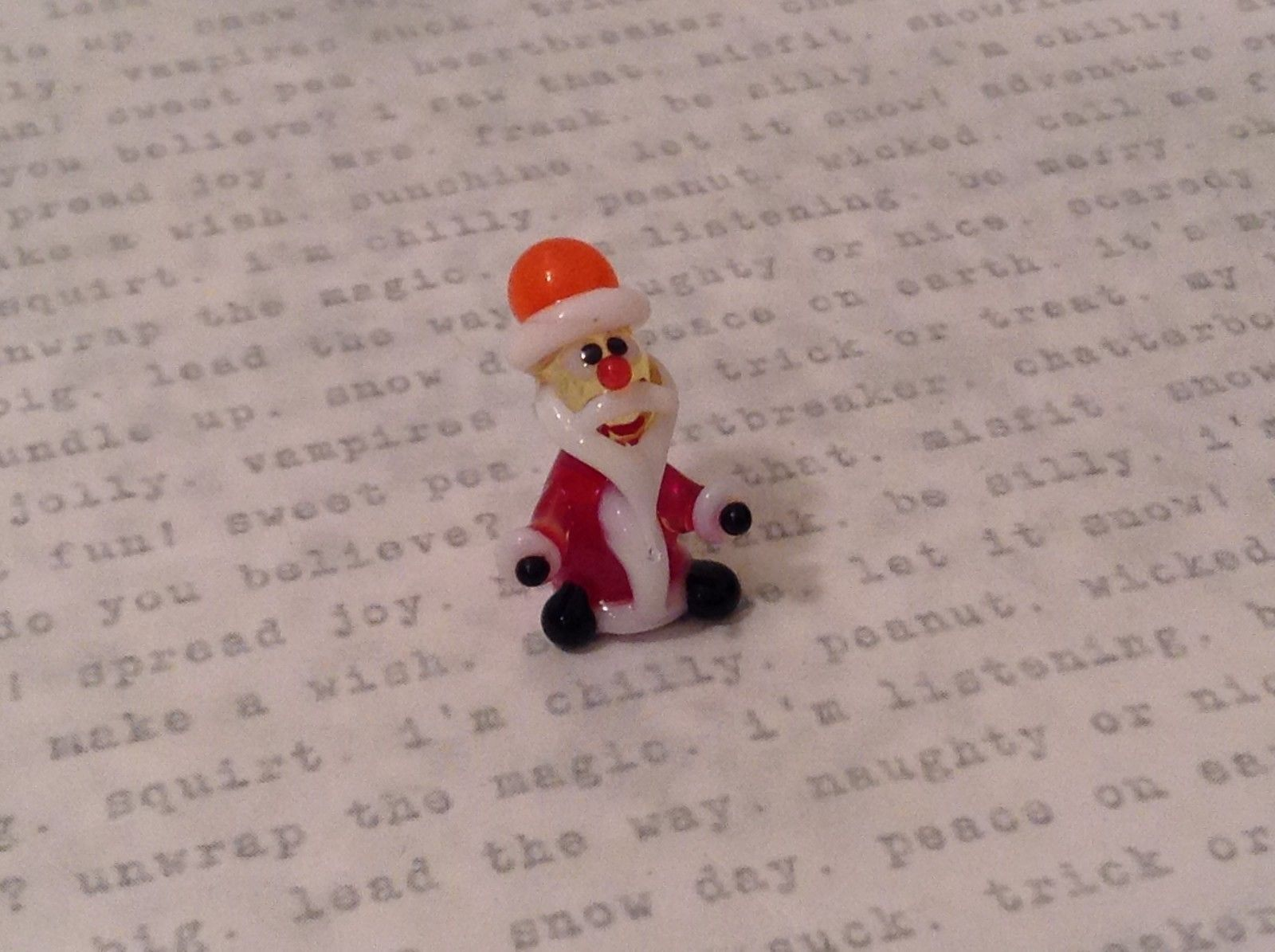 Micro miniature hand blown glass figurine red santa elf USA NIB