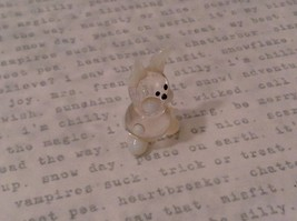 Micro miniature hand blown glass figurine clear and white bunny rabbit  USA NIB