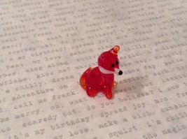 Micro miniature hand blown glass figurine tiny sitting red fox  USA NIB