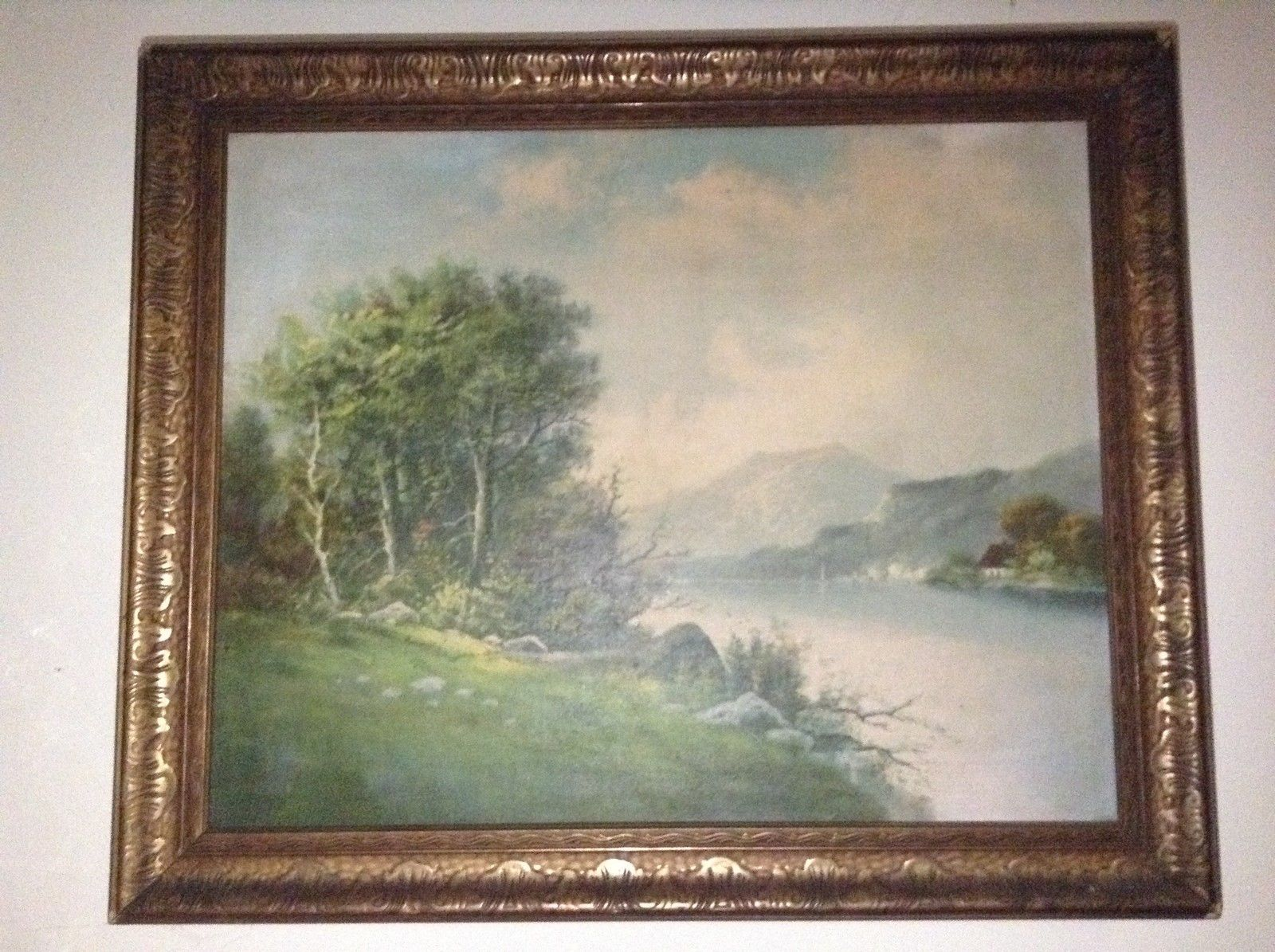 N E Hudson Valley Scene Framed Painting of the Hudson River