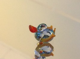 Micro miniature small hand blown glass little clear blue duck USA made image 1