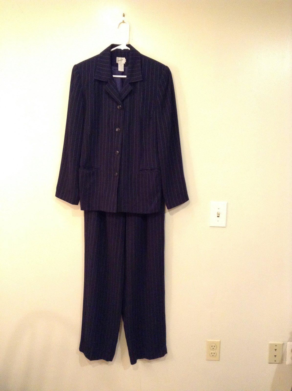 Navy Blue with White Stripes Jacket and Pant Set Jacqueline Ferrar Size 8