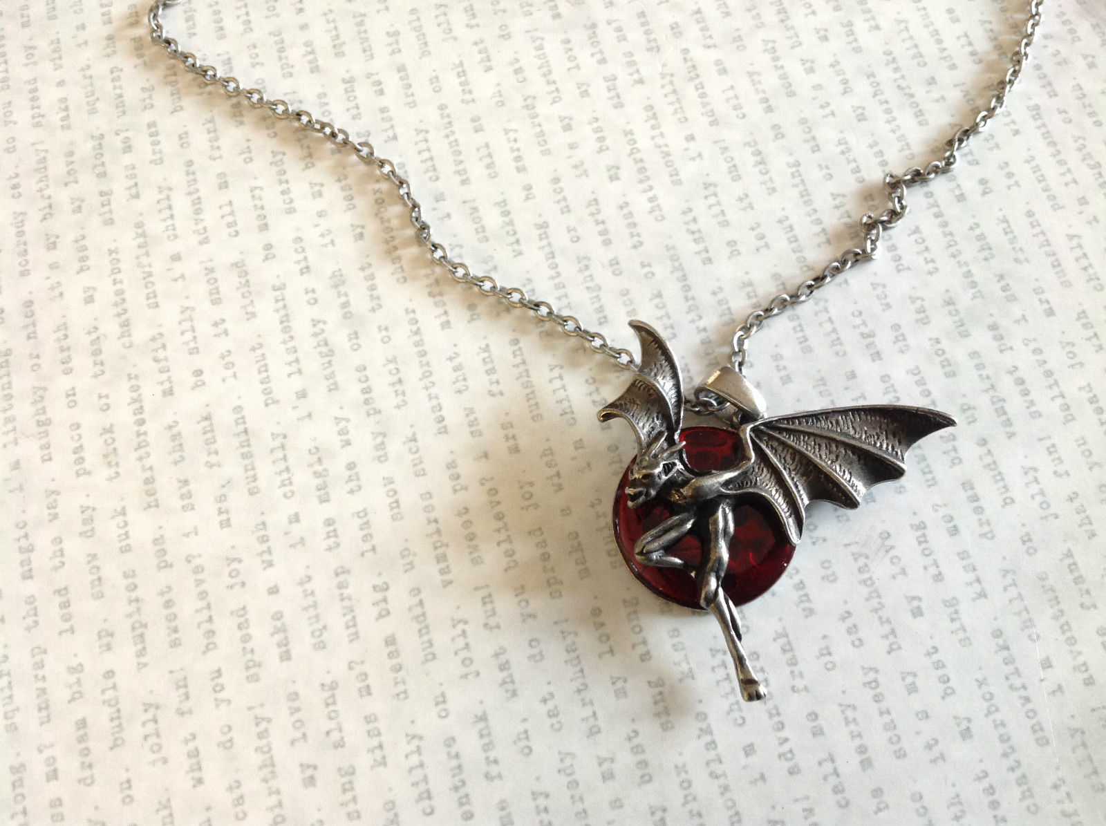 Pewter Metal Necklace with Demon Pendant and Red Enamel Vintage Look