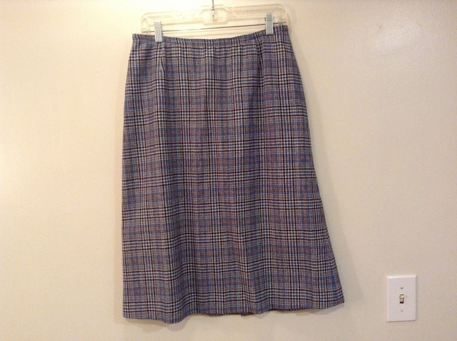 Pendleton Wool Mills Plaid Skirt Blue White Red Made in USA Measurements Below