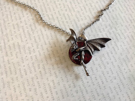 Pewter Metal Necklace with Demon Pendant and Red Enamel Vintage Look image 2