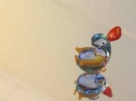Micro miniature small hand blown glass little clear blue duck USA made image 2